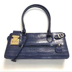 Melie Bianco Purple Vegan Croc Embossed Bag